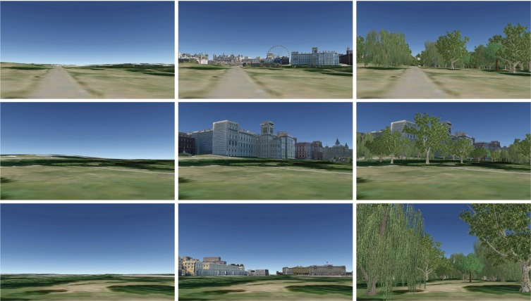 Views and landscape elements used in the research: view 1 (top row); view 2 (middle row); view 3 (bottom row); by visual condition (1 left column; 2 middle column; 3 right column) (©Google Earth).
